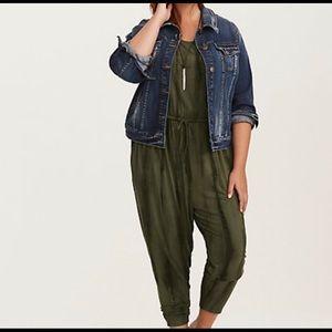 NWT Torrid Olive Green Jersey Knit Tank Jumpsuit